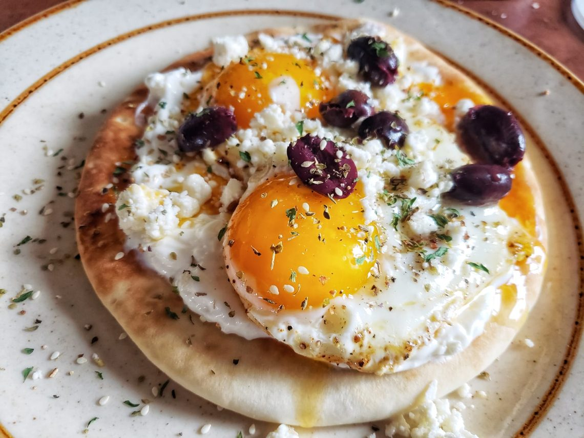 One serving of Turkish Eggs on a plate